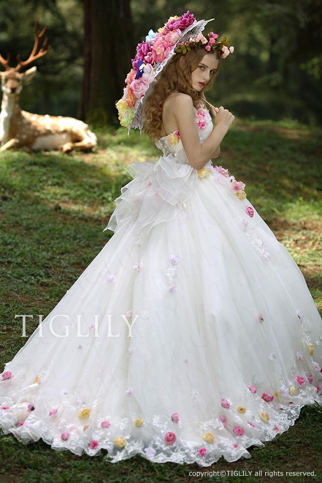 TIGLILY お花のカラードレス c116